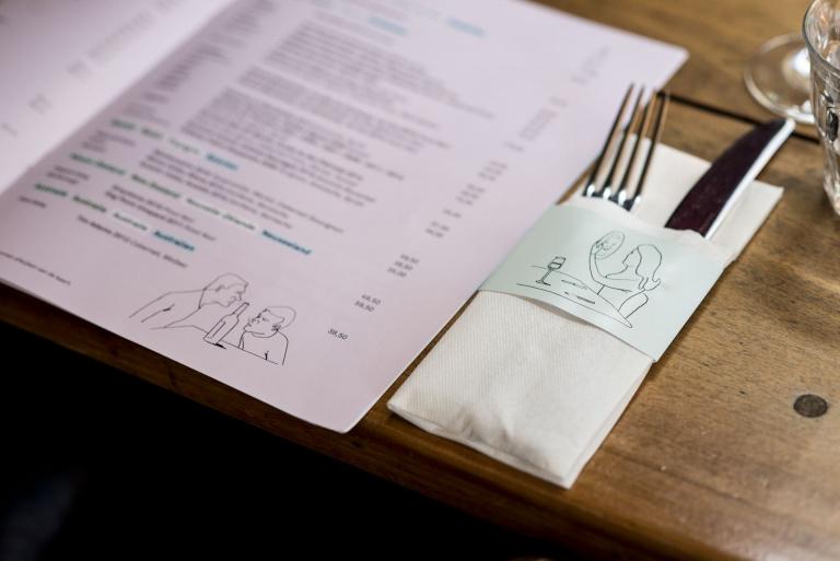 Menukaart en bestekzak Café Sjiek Maastricht