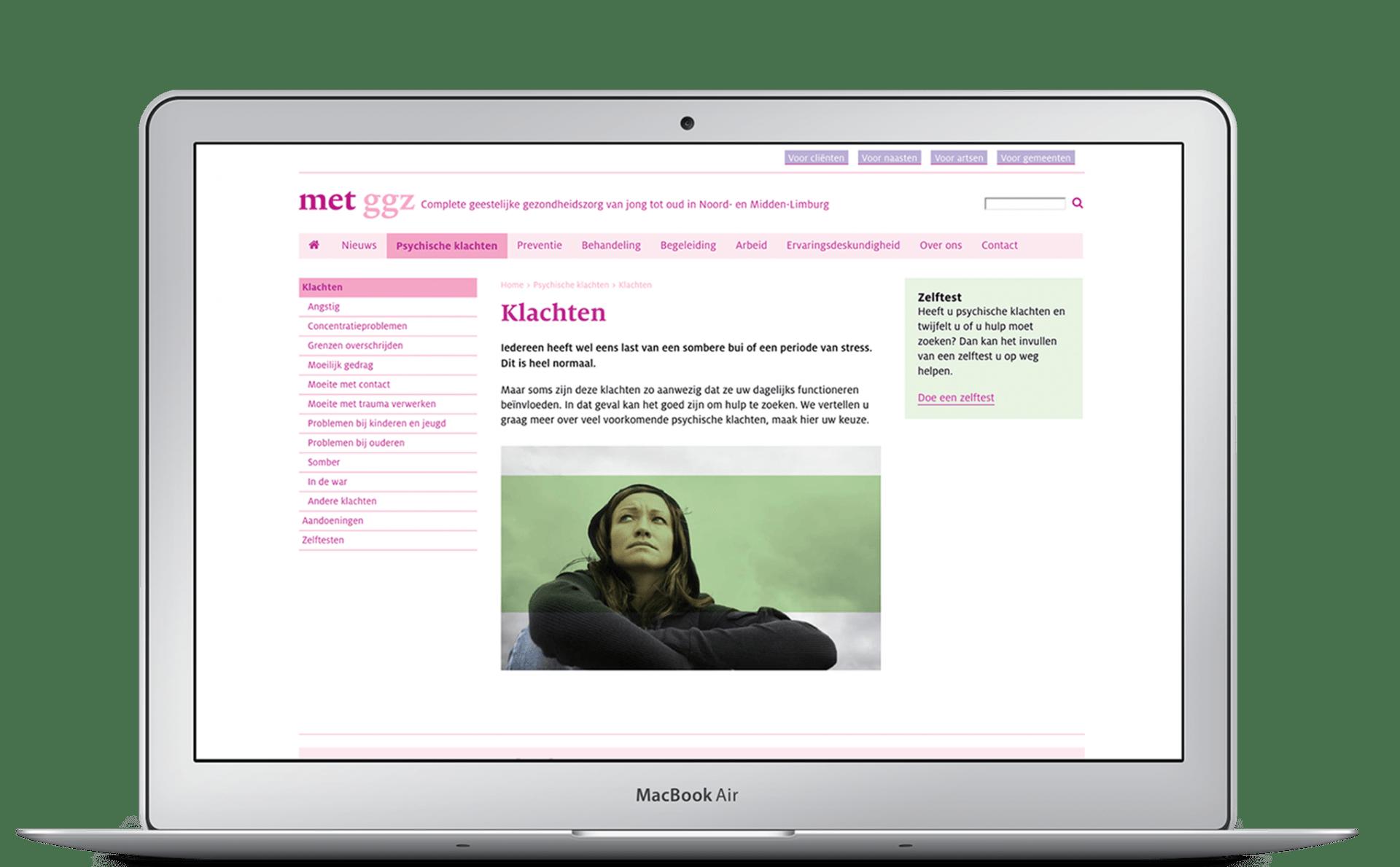 Websitepagina MET ggz op laptop