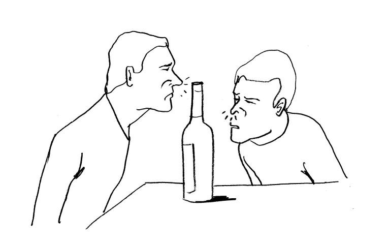 Illustratie wijnfles van Paul Faassen voor Café Sjiek