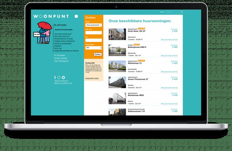 Beschikbare woningen op website Woonpunt