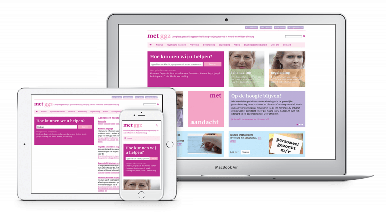 Website MET ggz op tablet, telefoon en laptop