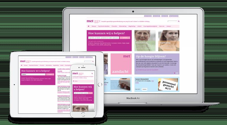 Website MET ggz op tablet, telefoon en laptop