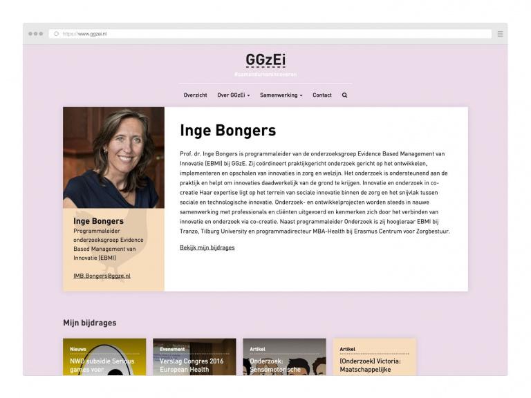 Ontwerp GGzEi website voor GGzE