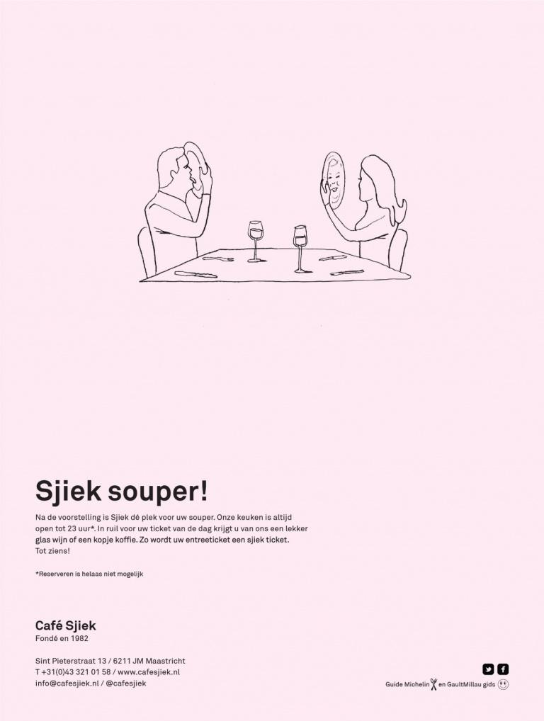 Ontwerp advertentie Café Sjiek Maastricht: Sjiek souper