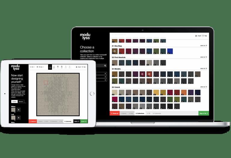Online designtool modulyss designer op tablet en laptop