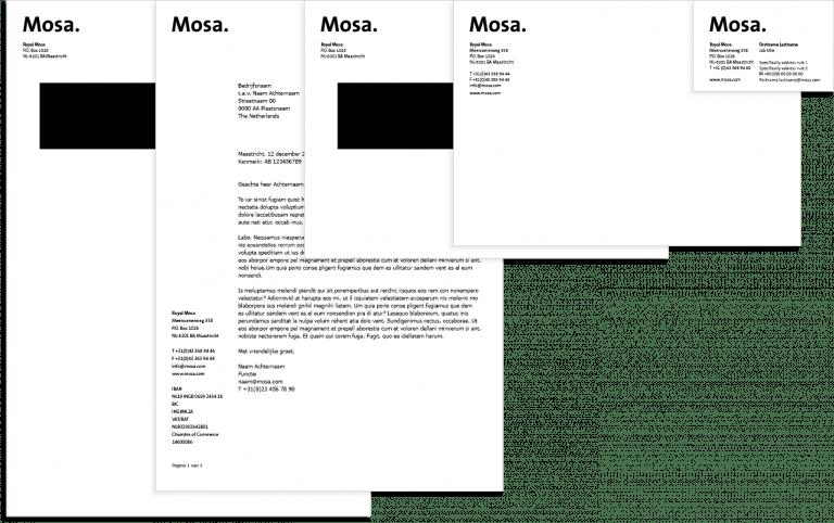 Mosa stationery: enveloppen, briefpapier en visitekaartje