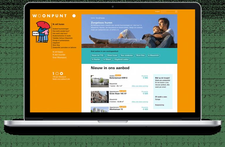 Website Woonpunt op laptop