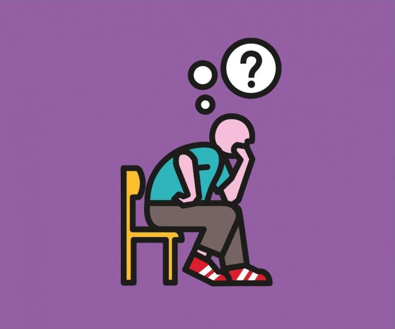 Woonpunt illustratie: denkende man op stoel