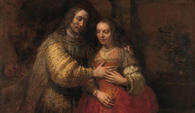 Isaak en Rebekka, bekend als 'Het Joodse bruidje', Rembrandt van Rijn, ca. 1665 - ca. 1669