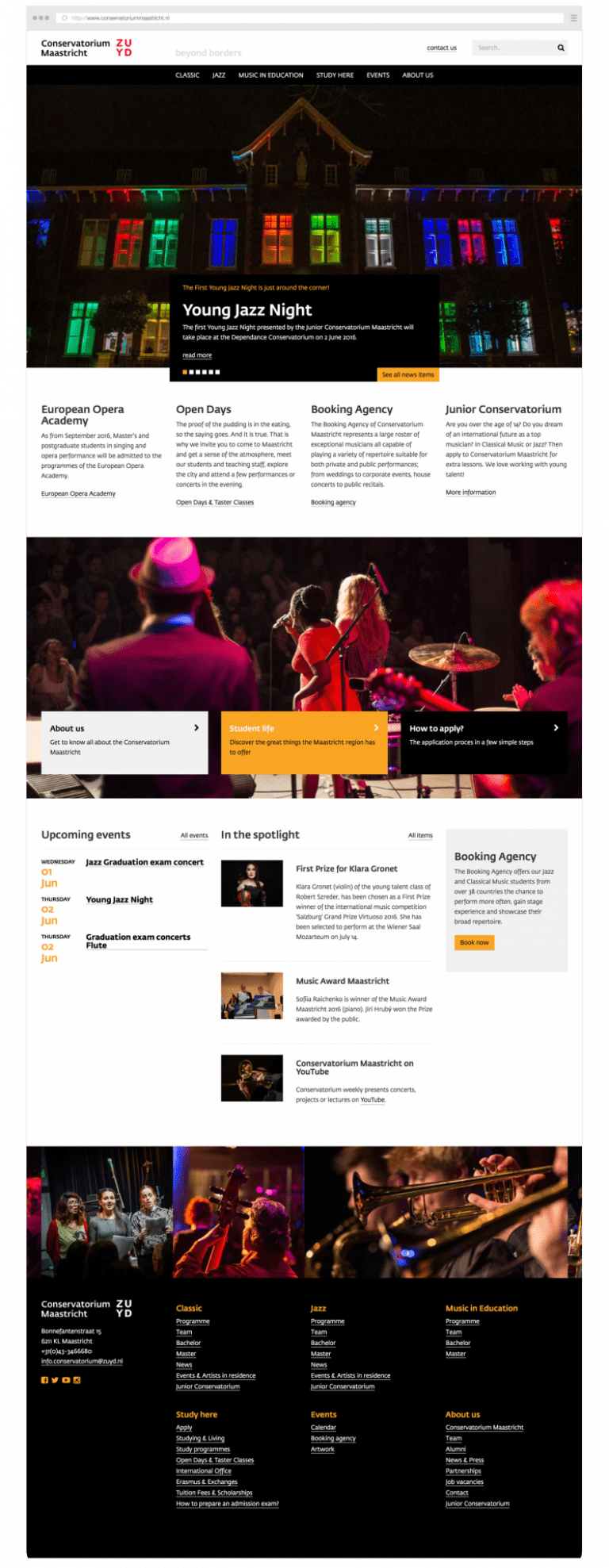Website-ontwerp Zuyd Hogeschool Conservatorium Maastricht