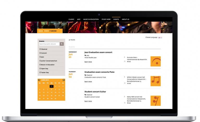 Website Conservatorium Maastricht