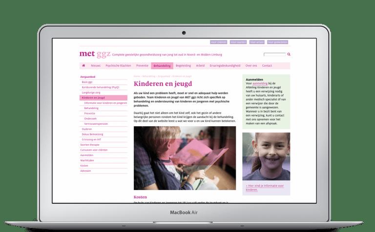 Website MET ggz op laptop