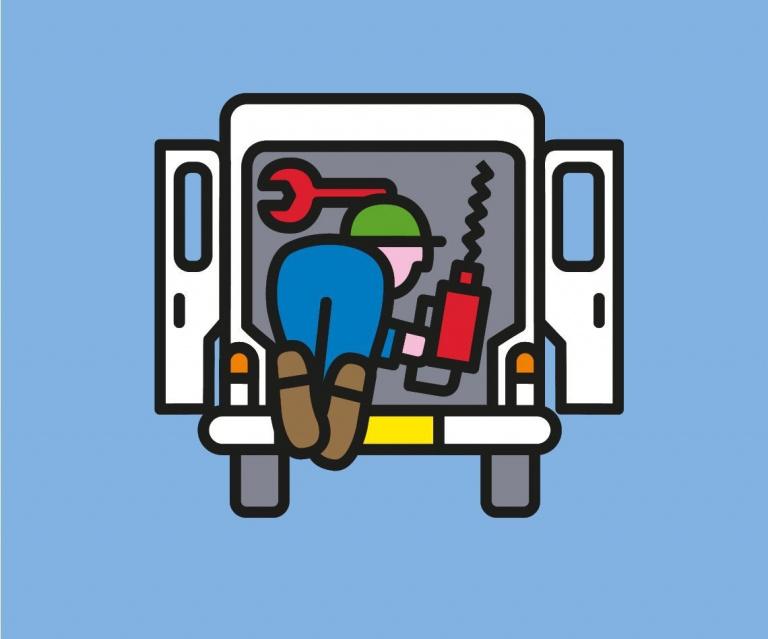 Woonpunt illustratie: bus met gereedschap