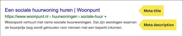 Google snippet van Woonpunt met Meta title en Meta description.