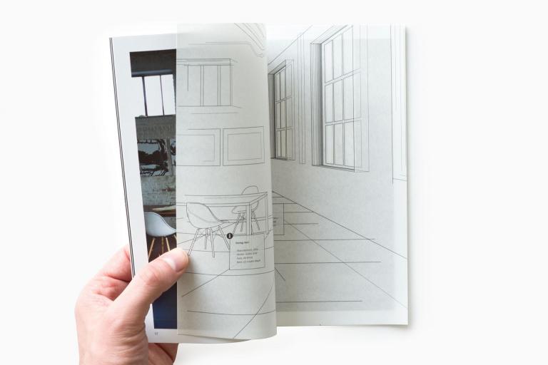 Spread met kalkpapier uit Mosa BIM CAD brochure