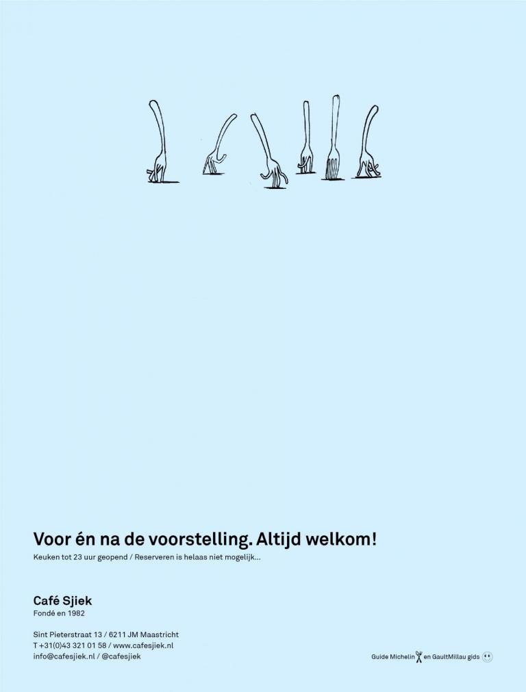 Advertentie Café Sjiek voor Theatergids Theater aan het Vrijthof Maastricht
