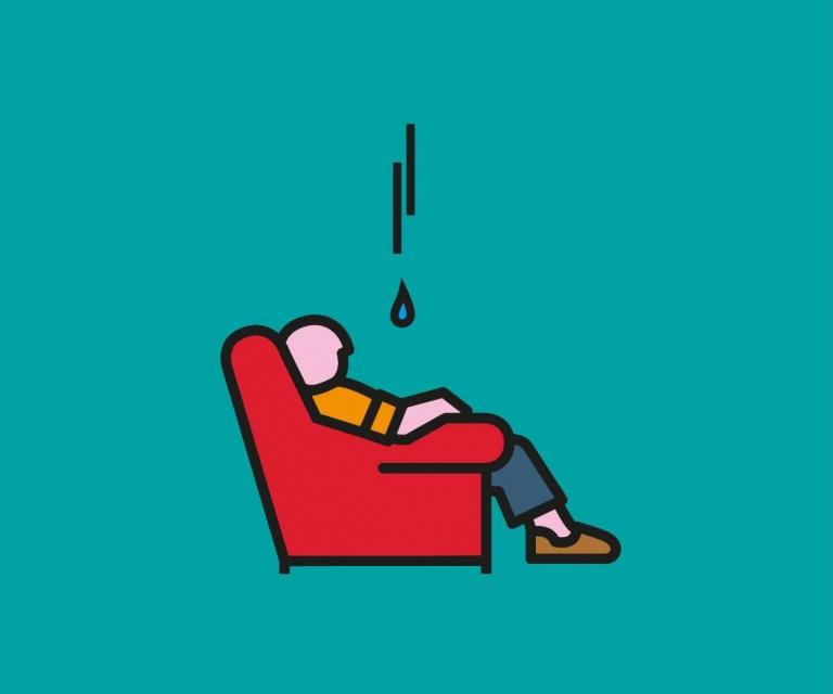 Woonpunt illustratie: man in stoel