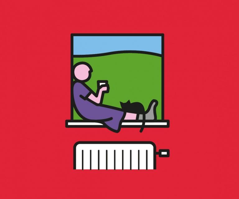 Woonpunt illustratie: vrouw met kat op vensterbank