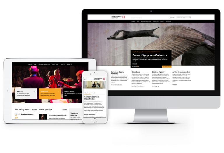 Website Conservatorium Maastricht op tablet, mobiele telefoon en iMac