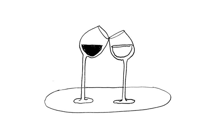 Illustratie wijnglazen Café Sjiek door Paul Faassen